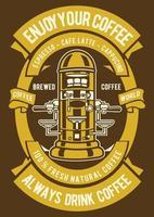 Enjoy Coffee Vintage Badge, Retro Badge Design vector