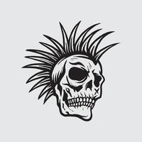 Skull punk drawing vector