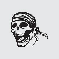 Skull pirate drawing vector