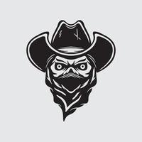 Skull cowboy drawing vector