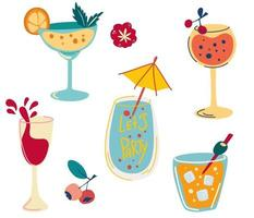 Set of cocktails. Hand drawn alcoholic beverages, refreshing cocktails with ice cubes, berries and olives. Summer vacation and beach party. Created for menu designs. Flat cartoon vector illustration