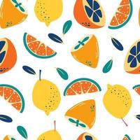 Seamless pattern with lemons. Abstract citrus background. Fresh slices and whole lemons backdrop. Summer pattern. Vector bright print for fabric or wallpaper.