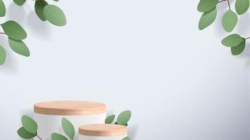 Escena mínima abstracta con formas geométricas. podio de madera en fondo blanco. presentación del producto, maqueta, exhibición de productos cosméticos, podio, pedestal o plataforma de escenario. Vector 3d