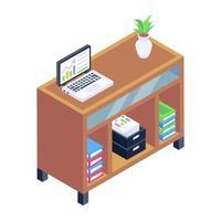 estante de libros de oficina vector