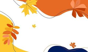 Autumn background of figures and leaves vector