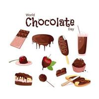 A set of delicious treats for Chocolate Day vector