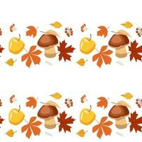 Pattern of stripes of autumn leaves, berries, apples and mushrooms vector