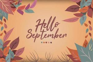 Hand drawn hello september lettering Premium vector
