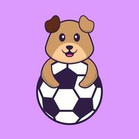 Cute dog playing soccer. Animal cartoon concept isolated. Can used for t-shirt, greeting card, invitation card or mascot. Flat Cartoon Style vector