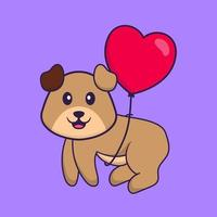 Cute dog flying with love shaped balloons. Animal cartoon concept isolated. Can used for t-shirt, greeting card, invitation card or mascot. Flat Cartoon Style vector