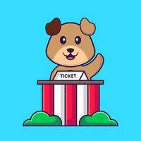 Cute dog is being a ticket keeper. Animal cartoon concept isolated. Can used for t-shirt, greeting card, invitation card or mascot. Flat Cartoon Style vector