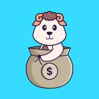 Cute sheep in a money bag. Animal cartoon concept isolated. Can used for t-shirt, greeting card, invitation card or mascot. Flat Cartoon Style vector