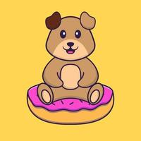 Cute dog is sitting on donuts. Animal cartoon concept isolated. Can used for t-shirt, greeting card, invitation card or mascot. Flat Cartoon Style vector