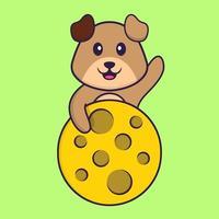 lindo perro está en la luna. aislado concepto de dibujos animados de animales. Puede utilizarse para camiseta, tarjeta de felicitación, tarjeta de invitación o mascota. estilo de dibujos animados plana vector