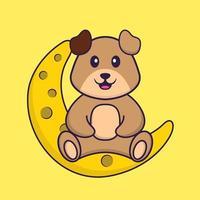 lindo perro está sentado en la luna. aislado concepto de dibujos animados de animales. Puede utilizarse para camiseta, tarjeta de felicitación, tarjeta de invitación o mascota. estilo de dibujos animados plana vector