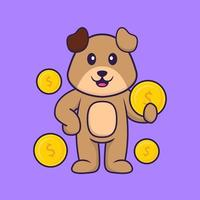 Cute dog holding coin. Animal cartoon concept isolated. Can used for t-shirt, greeting card, invitation card or mascot. Flat Cartoon Style vector