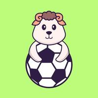Cute sheep playing soccer. Animal cartoon concept isolated. Can used for t-shirt, greeting card, invitation card or mascot. Flat Cartoon Style vector