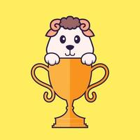 Cute sheep with gold trophy. Animal cartoon concept isolated. Can used for t-shirt, greeting card, invitation card or mascot. Flat Cartoon Style vector