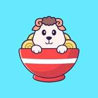 Cute sheep eating ramen noodles. Animal cartoon concept isolated. Can used for t-shirt, greeting card, invitation card or mascot. Flat Cartoon Style vector