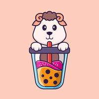 Cute sheep Drinking Boba milk tea. Animal cartoon concept isolated. Can used for t-shirt, greeting card, invitation card or mascot. Flat Cartoon Style vector