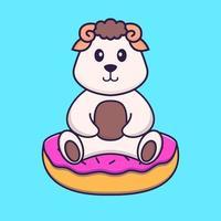linda oveja está sentada sobre donas. aislado concepto de dibujos animados de animales. Puede utilizarse para camiseta, tarjeta de felicitación, tarjeta de invitación o mascota. estilo de dibujos animados plana vector