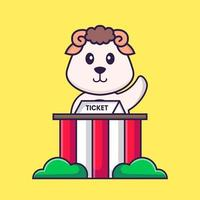 Cute sheep is being a ticket keeper. Animal cartoon concept isolated. Can used for t-shirt, greeting card, invitation card or mascot. Flat Cartoon Style vector