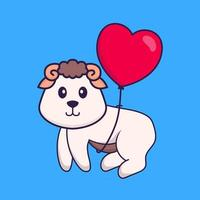 Cute sheep flying with love shaped balloons. Animal cartoon concept isolated. Can used for t-shirt, greeting card, invitation card or mascot. Flat Cartoon Style vector