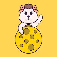 Cute sheep is on the moon. Animal cartoon concept isolated. Can used for t-shirt, greeting card, invitation card or mascot. Flat Cartoon Style vector