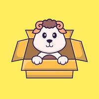 Cute sheep Playing In Box. Animal cartoon concept isolated. Can used for t-shirt, greeting card, invitation card or mascot. Flat Cartoon Style vector