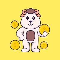 Cute sheep holding coin. Animal cartoon concept isolated. Can used for t-shirt, greeting card, invitation card or mascot. Flat Cartoon Style vector