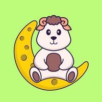 linda oveja está sentada en la luna. aislado concepto de dibujos animados de animales. Puede utilizarse para camiseta, tarjeta de felicitación, tarjeta de invitación o mascota. estilo de dibujos animados plana vector