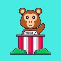 Cute monkey is being a ticket keeper. Animal cartoon concept isolated. Can used for t-shirt, greeting card, invitation card or mascot. Flat Cartoon Style vector