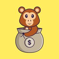 mono lindo en una bolsa de dinero. aislado concepto de dibujos animados de animales. Puede utilizarse para camiseta, tarjeta de felicitación, tarjeta de invitación o mascota. estilo de dibujos animados plana vector
