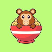 Cute monkey eating ramen noodles. Animal cartoon concept isolated. Can used for t-shirt, greeting card, invitation card or mascot. Flat Cartoon Style vector