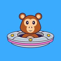 Cute monkey Driving Spaceship Ufo. Animal cartoon concept isolated. Can used for t-shirt, greeting card, invitation card or mascot. Flat Cartoon Style vector
