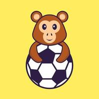Cute monkey playing soccer. Animal cartoon concept isolated. Can used for t-shirt, greeting card, invitation card or mascot. Flat Cartoon Style vector