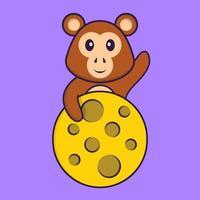 mono lindo está en la luna. aislado concepto de dibujos animados de animales. Puede utilizarse para camiseta, tarjeta de felicitación, tarjeta de invitación o mascota. estilo de dibujos animados plana vector