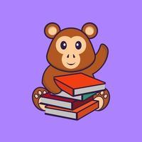 mono lindo leyendo un libro. aislado concepto de dibujos animados de animales. Puede utilizarse para camiseta, tarjeta de felicitación, tarjeta de invitación o mascota. estilo de dibujos animados plana vector