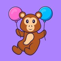Cute monkey flying with two balloons. Animal cartoon concept isolated. Can used for t-shirt, greeting card, invitation card or mascot. Flat Cartoon Style vector