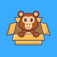 Cute monkey Playing In Box. Animal cartoon concept isolated. Can used for t-shirt, greeting card, invitation card or mascot. Flat Cartoon Style vector