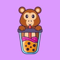 Cute monkey Drinking Boba milk tea. Animal cartoon concept isolated. Can used for t-shirt, greeting card, invitation card or mascot. Flat Cartoon Style vector
