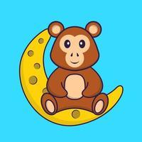 mono lindo está sentado en la luna. aislado concepto de dibujos animados de animales. Puede utilizarse para camiseta, tarjeta de felicitación, tarjeta de invitación o mascota. estilo de dibujos animados plana vector