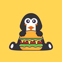 Cute penguin eating burger. Animal cartoon concept isolated. Can used for t-shirt, greeting card, invitation card or mascot. Flat Cartoon Style vector