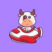 Cute cow flying on a plane. Animal cartoon concept isolated. Can used for t-shirt, greeting card, invitation card or mascot. Flat Cartoon Style vector