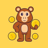 Cute monkey holding coin. Animal cartoon concept isolated. Can used for t-shirt, greeting card, invitation card or mascot. Flat Cartoon Style vector