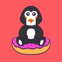 lindo pingüino está sentado sobre donas. aislado concepto de dibujos animados de animales. Puede utilizarse para camiseta, tarjeta de felicitación, tarjeta de invitación o mascota. estilo de dibujos animados plana vector