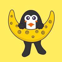 lindo pingüino está en la luna. aislado concepto de dibujos animados de animales. Puede utilizarse para camiseta, tarjeta de felicitación, tarjeta de invitación o mascota. estilo de dibujos animados plana vector