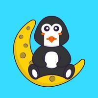 lindo pingüino está sentado en la luna. aislado concepto de dibujos animados de animales. Puede utilizarse para camiseta, tarjeta de felicitación, tarjeta de invitación o mascota. estilo de dibujos animados plana vector