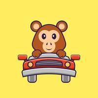 mono lindo está conduciendo. aislado concepto de dibujos animados de animales. Puede utilizarse para camiseta, tarjeta de felicitación, tarjeta de invitación o mascota. estilo de dibujos animados plana vector