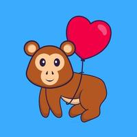 Cute monkey flying with love shaped balloons. Animal cartoon concept isolated. Can used for t-shirt, greeting card, invitation card or mascot. Flat Cartoon Style vector